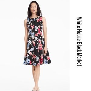 COMING SOON WHBM FLORAL SCUBA FIT AND FLARE DRESS